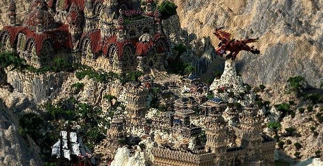Kingdom of Azerian - Oriental Capital minecraft castle mountain build