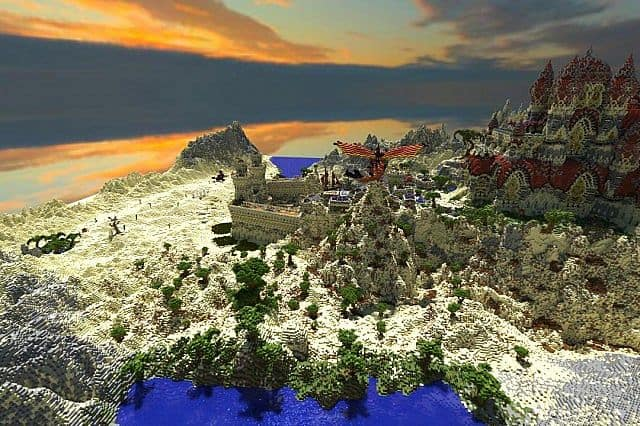 Kingdom of Azerian - Oriental Capital minecraft castle mountain build disance view