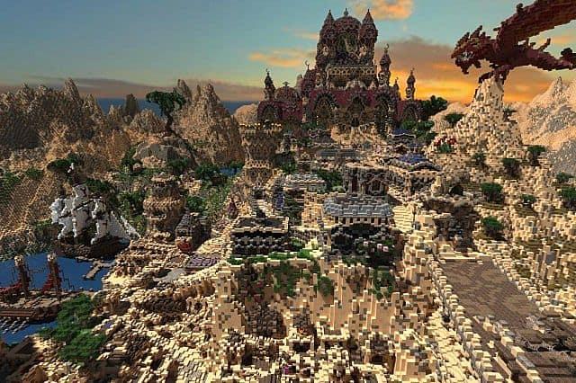 Kingdom of Azerian - Oriental Capital minecraft castle mountain build dragon castle
