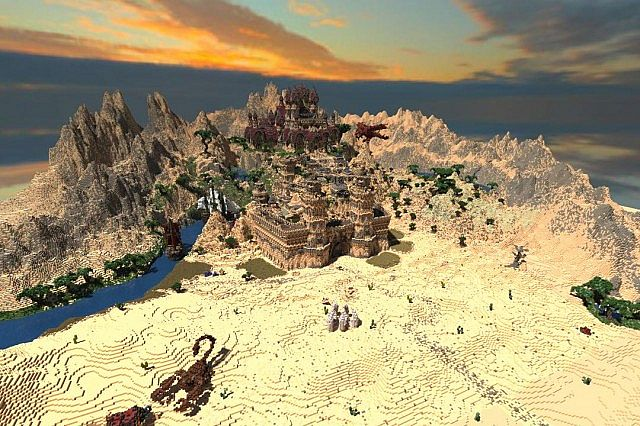 Kingdom of Azerian - Oriental Capital minecraft castle mountain build far view