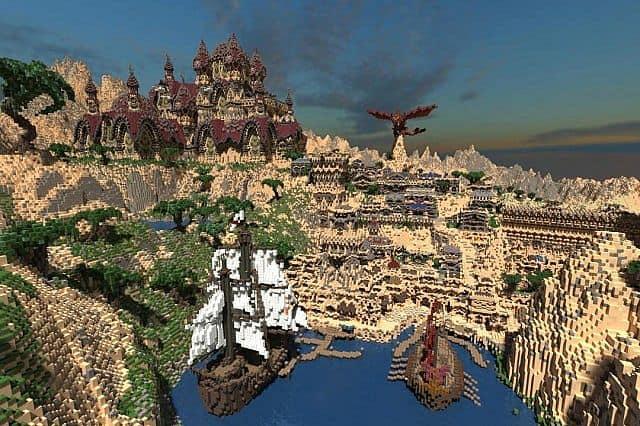 Kingdom of Azerian - Oriental Capital minecraft castle mountain build harbor dragon castle