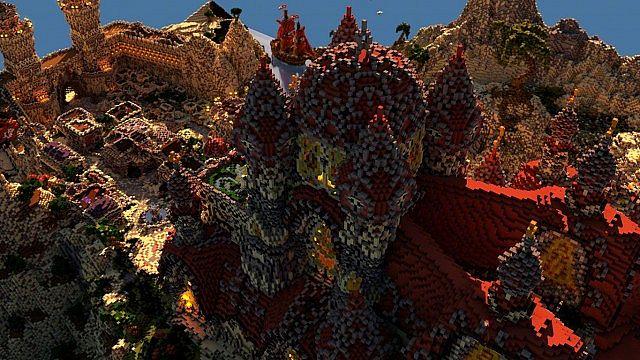 Kingdom of Azerian - Oriental Capital minecraft castle mountain build red castle