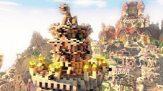 Kingdom of Azerian - Oriental Capital minecraft castle mountain build top