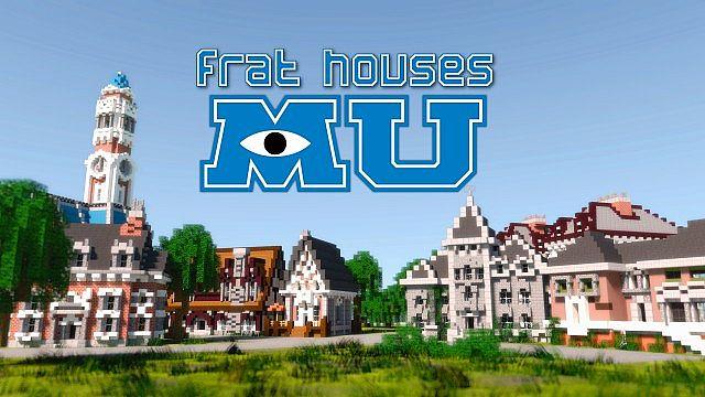 MU frat houses Monster University minecraft building inc college school learning
