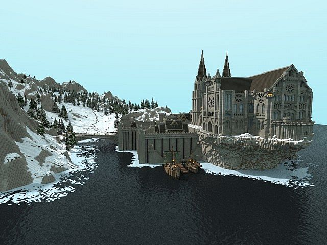 Winterbleak [World of Targur Minecraft castle building ideas sea water bridge boats 3