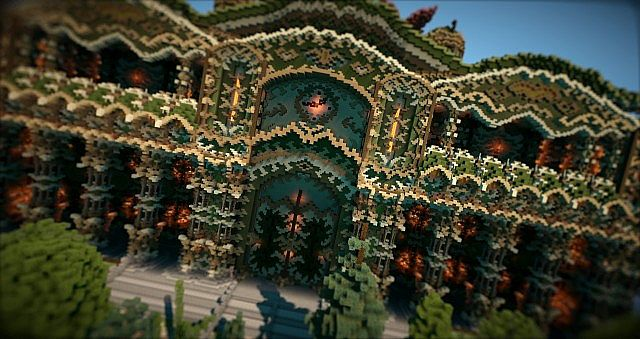 Elessar the forest palace minecraft building ideas castle woods trees 6