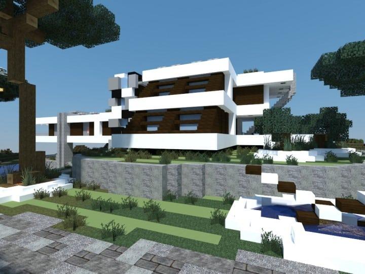Mediterranean Beach House minecraft building idea home modern 3