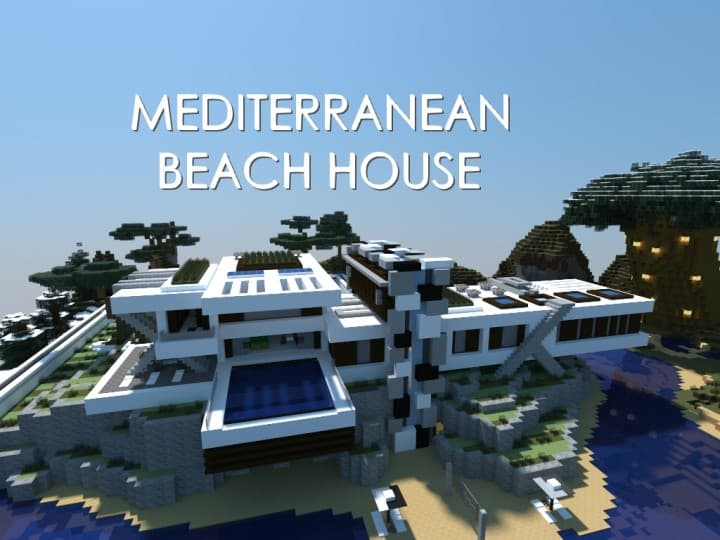 Mediterranean Beach House minecraft building idea home modern