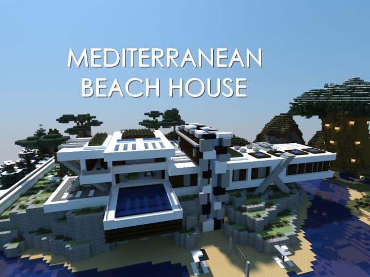 Mediterranean Beach House minecraft building idea home modern