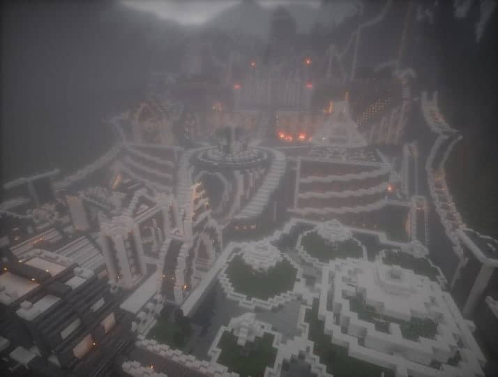 Residence in the mountains castle building minecraft garden waterfall 10