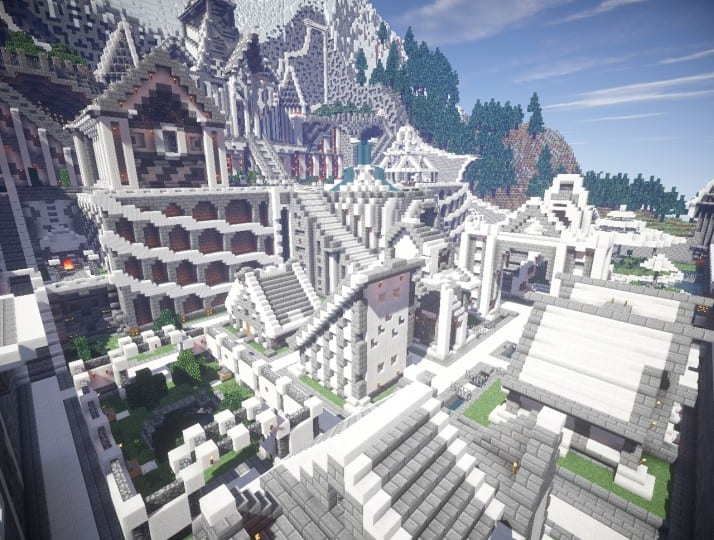 Residence in the mountains castle building minecraft garden waterfall 3