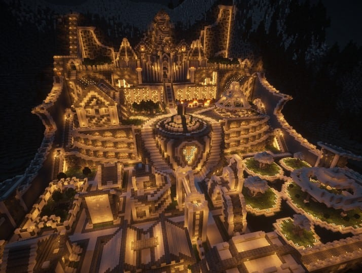 Residence in the mountains castle building minecraft garden waterfall 7