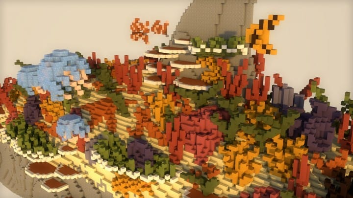 Alive Coral Reef 24h Challenge Download minecraft building ideas floating close view