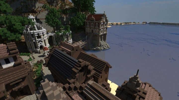 Blugough Town port water yard minecraft building city 6
