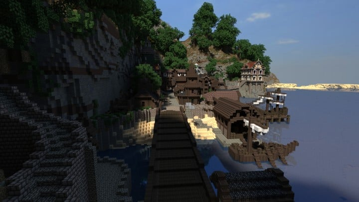 Blugough Town port water yard minecraft building city 7