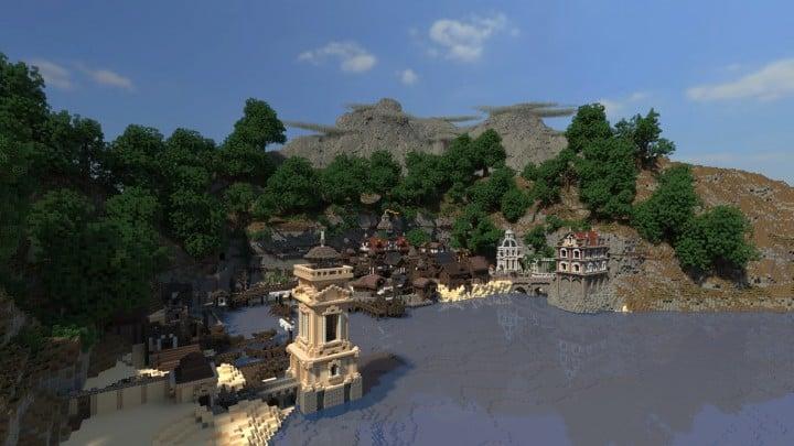 Blugough Town port water yard minecraft building city