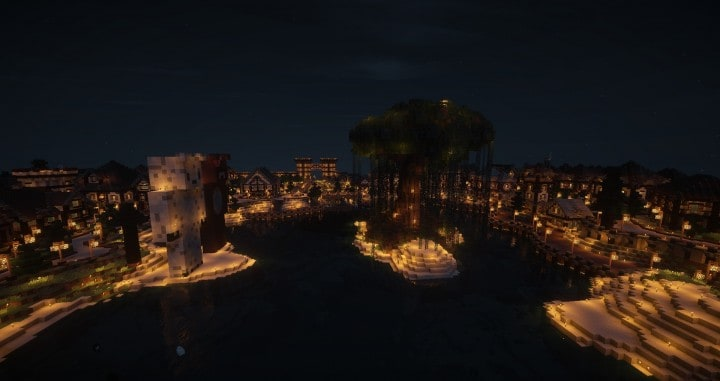 Large Medieval Village minecraft building ideas town city huge house water port 10