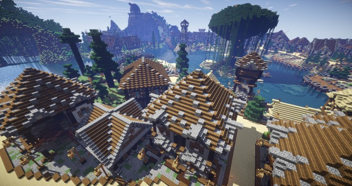 Large Medieval Village minecraft building ideas town city huge house water port 11