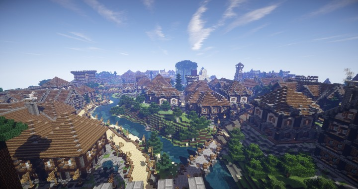 Large Medieval Village minecraft building ideas town city huge house water port 6
