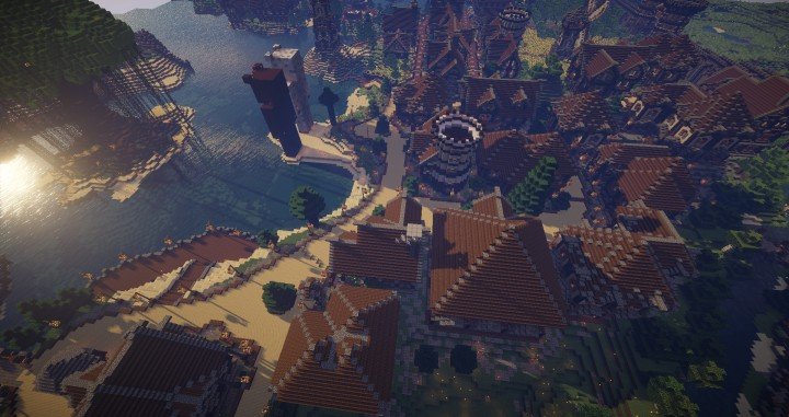 Large Medieval Village minecraft building ideas town city huge house water port 7