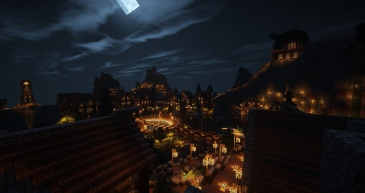 Large Medieval Village minecraft building ideas town city huge house water port 8