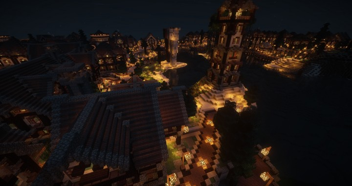 Large Medieval Village minecraft building ideas town city huge house water port 9