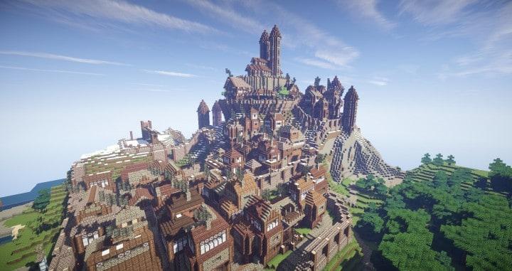 Arch Village Realistic Fantasy Kingdoms castle town minecraft building ideas mountain