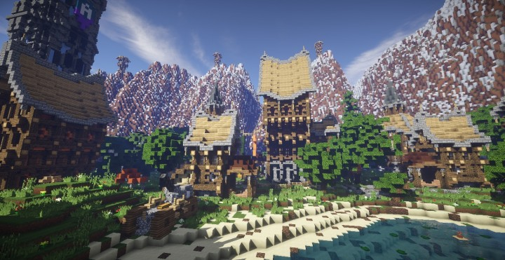 Athens Valley village mountain town minecraft building ideas blueprints 3