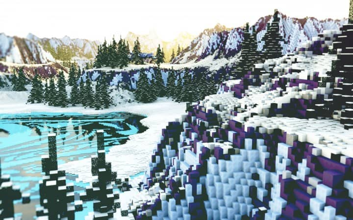 Flowers of lakes survival map game mode mountains minecraft building 11