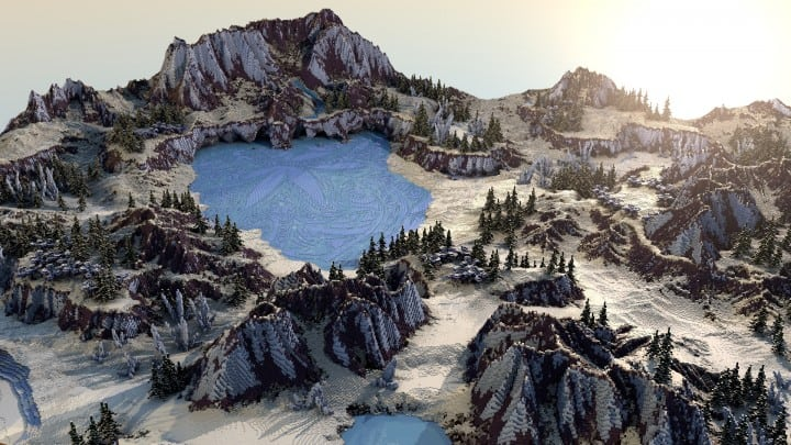 Flowers of lakes survival map game mode mountains minecraft building 12