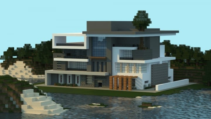 Modern house box minecraft building ideas home 2