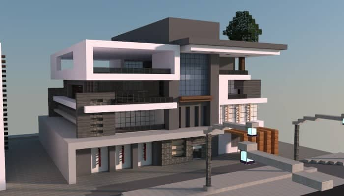 Box modern house minecraft building inc for Modern house mc