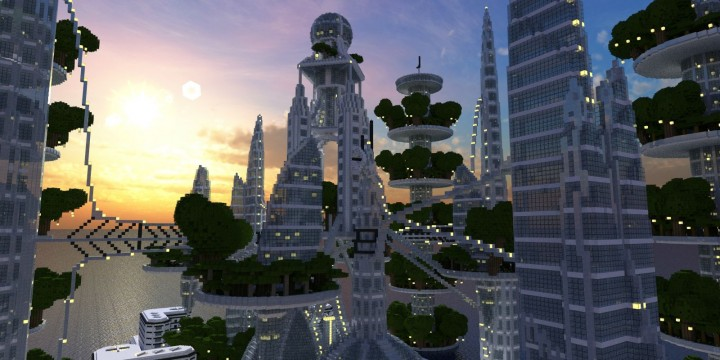 Ocean Cityscape minecraft building ideas blueprints towers white 2
