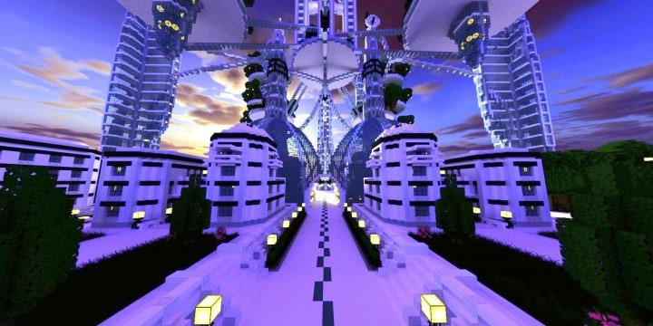 Ocean Cityscape minecraft building ideas blueprints towers white 3