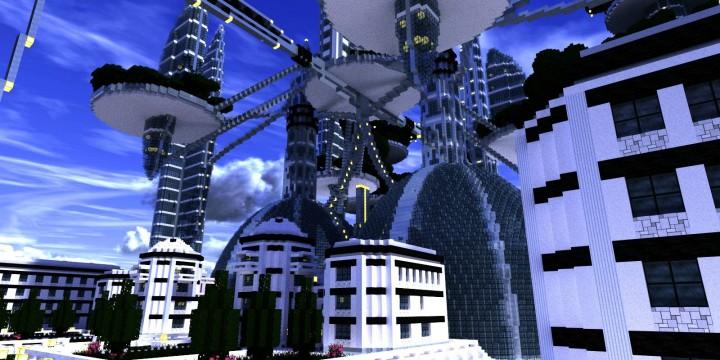Ocean Cityscape minecraft building ideas blueprints towers white 5