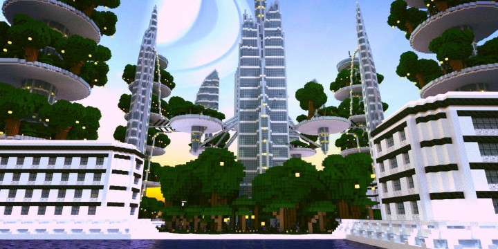 Ocean Cityscape Towers Minecraft Building Inc