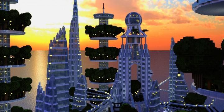 Ocean Cityscape minecraft building ideas blueprints towers white 7