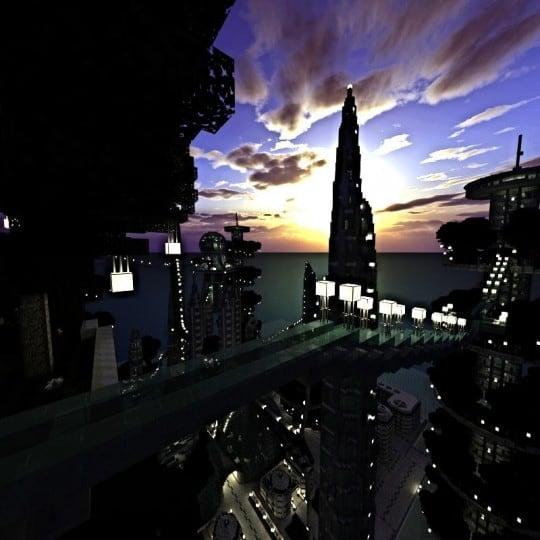 Ocean Cityscape minecraft building ideas blueprints towers white 8