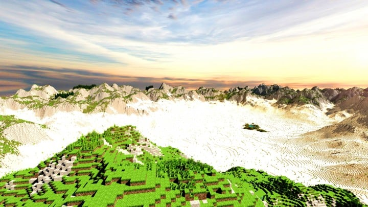 Realistic desert and mountain terrain minecraft building locations world map 2
