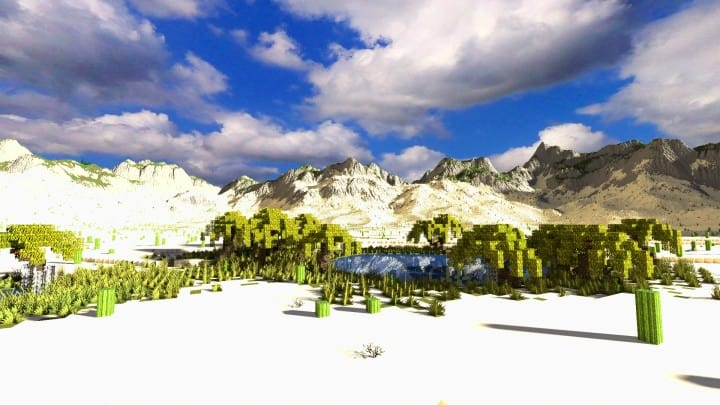 Realistic desert and mountain terrain minecraft building locations world map 5