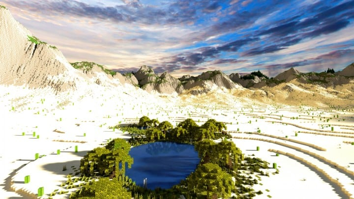Realistic desert and mountain terrain minecraft building locations world map 9