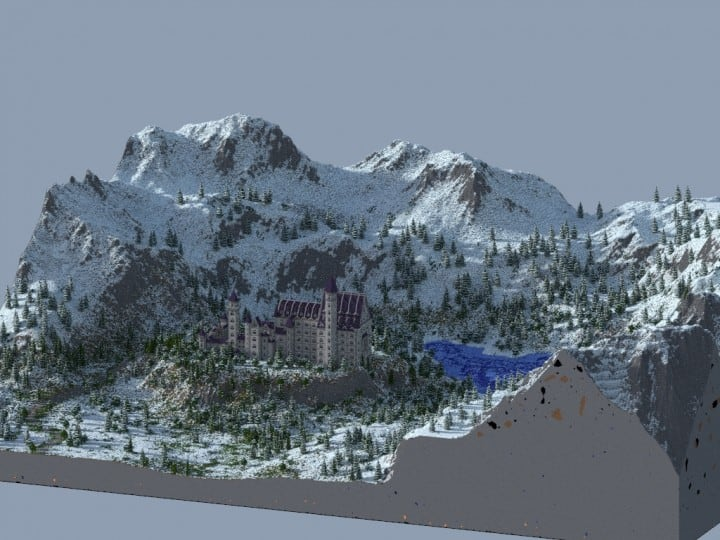 Castle Neuschwanstein in Minecraft Scale 1 to 1 Project  building ideas mountains 2