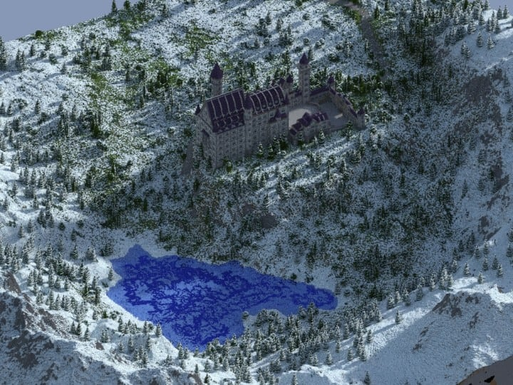 Castle Neuschwanstein in Minecraft Scale 1 to 1 Project  building ideas mountains 5