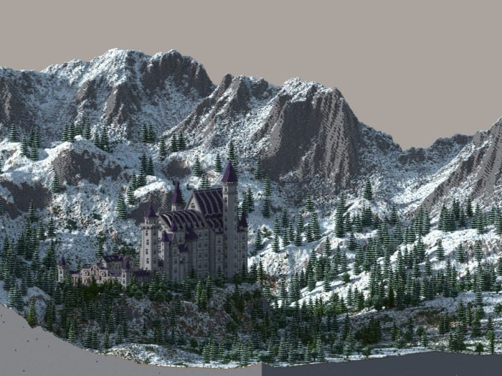 Castle Neuschwanstein in Minecraft Scale 1 to 1 Project  building ideas mountains 6