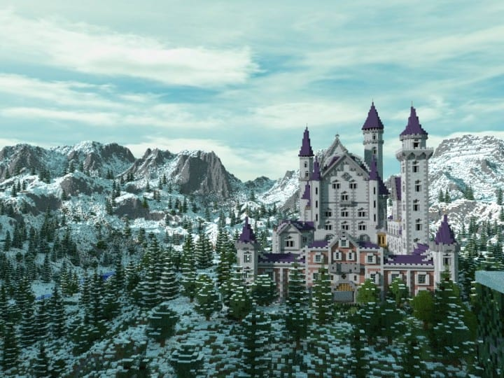 Castle Neuschwanstein in Minecraft Scale 1 to 1 Project  building ideas mountains