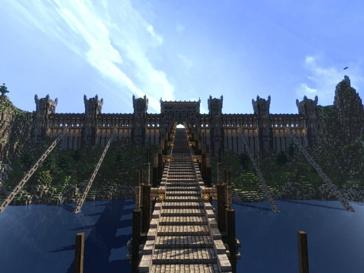 Castle of WhiteCliff minecraft building ideas download mountain clif gate wall 11