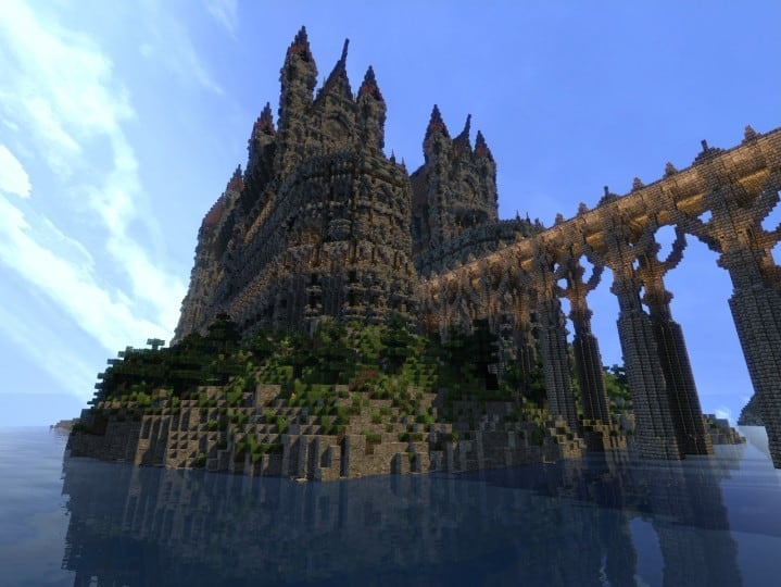 Castle of WhiteCliff minecraft building ideas download mountain clif gate wall 12