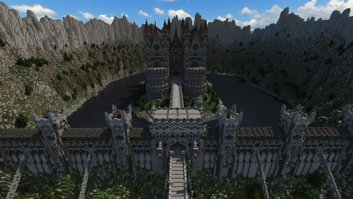 Castle of WhiteCliff minecraft building ideas download mountain clif gate wall 3
