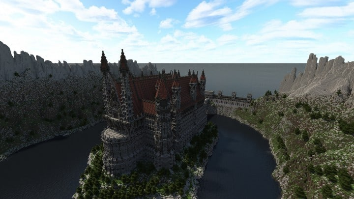 Castle of WhiteCliff minecraft building ideas download mountain clif gate wall 4