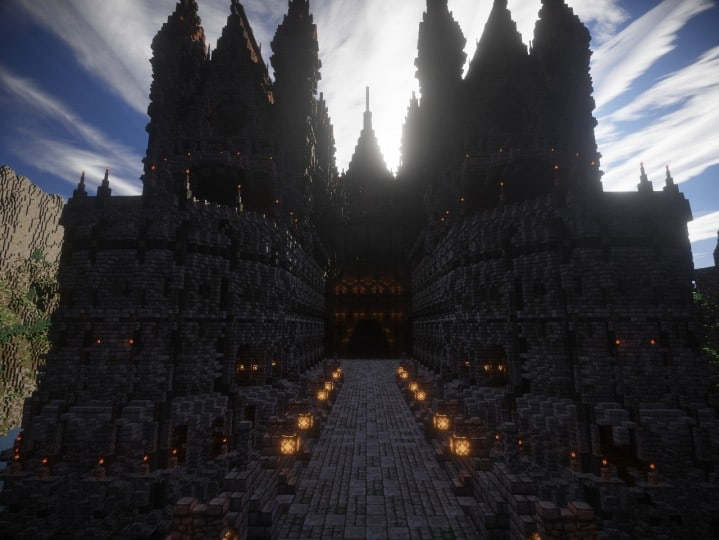 Castle of WhiteCliff minecraft building ideas download mountain clif gate wall 6